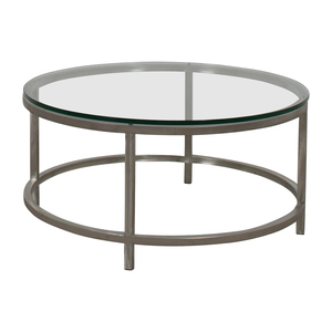 Crate & Barrel Crate & Barrel Era Round Glass and Chrome Coffee Table nj