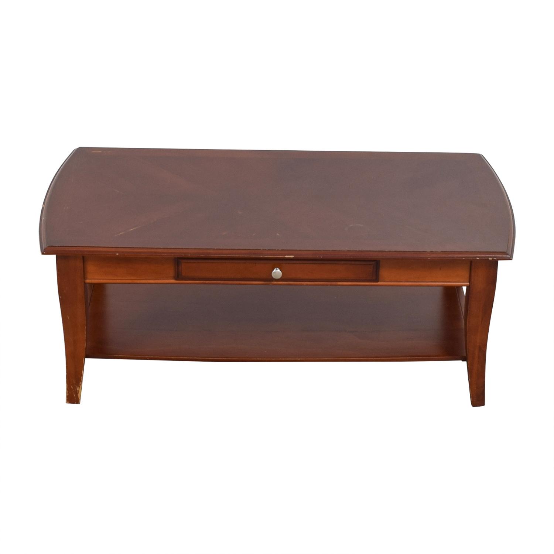 Single Drawer Wood Coffee Table Dark Cherry