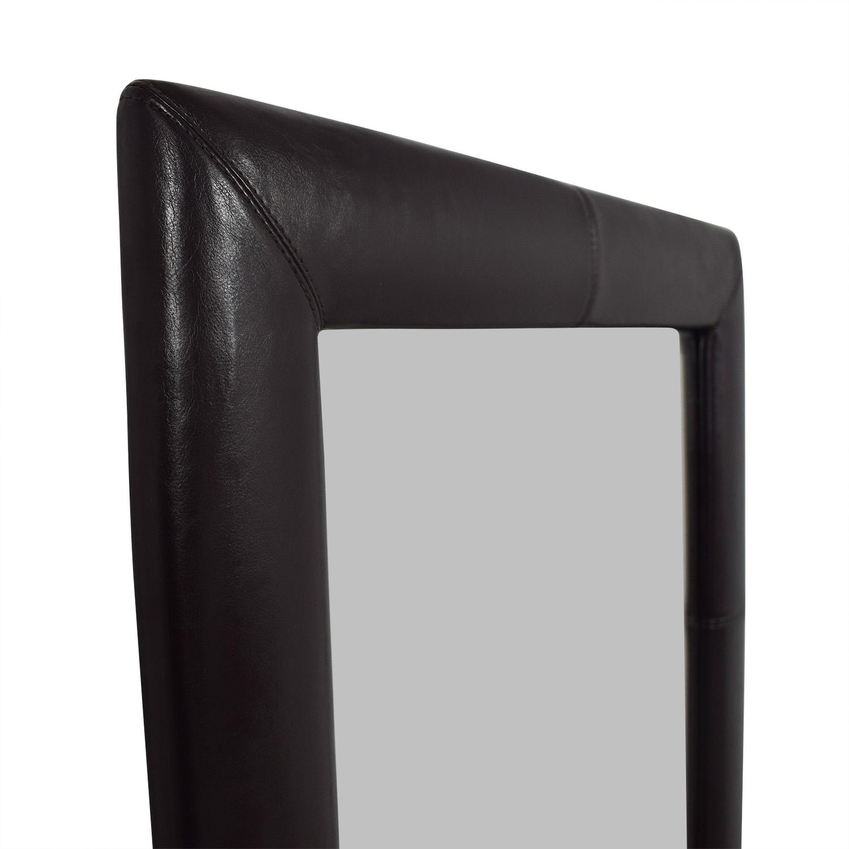 62% OFF - Overstock Overstock Black Leather Floor Mirror / Decor