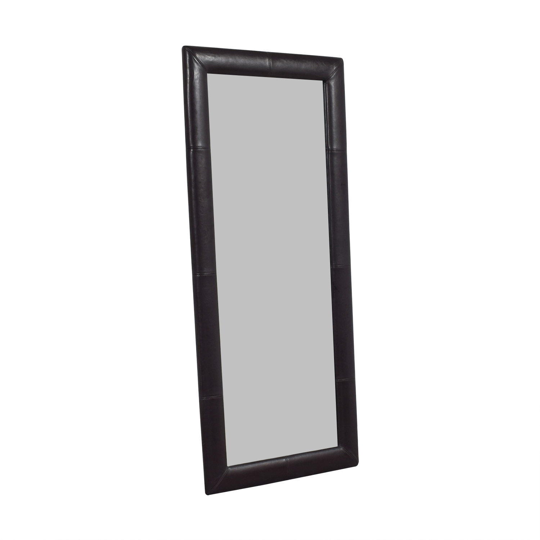 Overstock Overstock Black Leather Floor Mirror discount