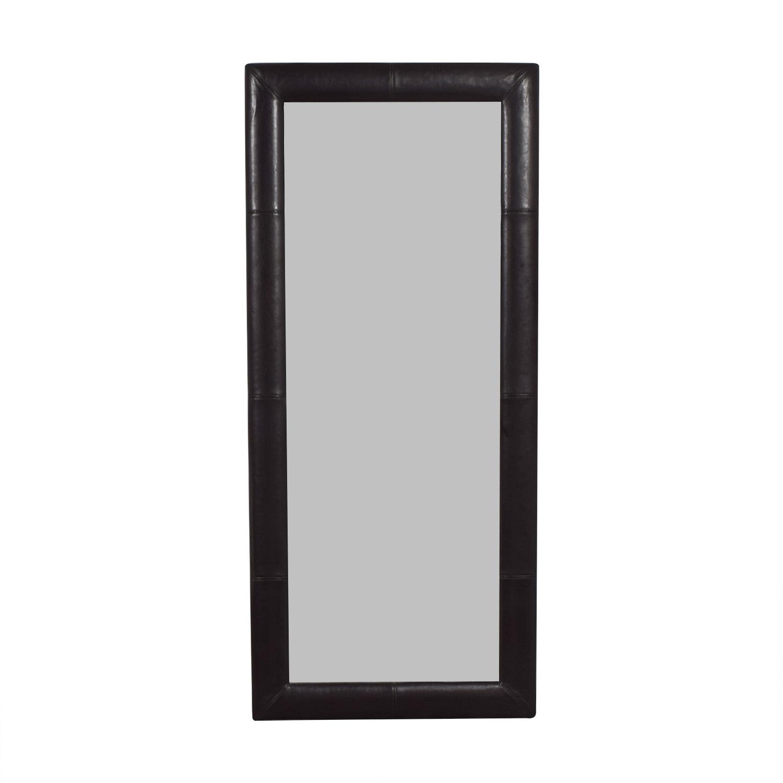 Overstock Overstock Black Leather Floor Mirror second hand