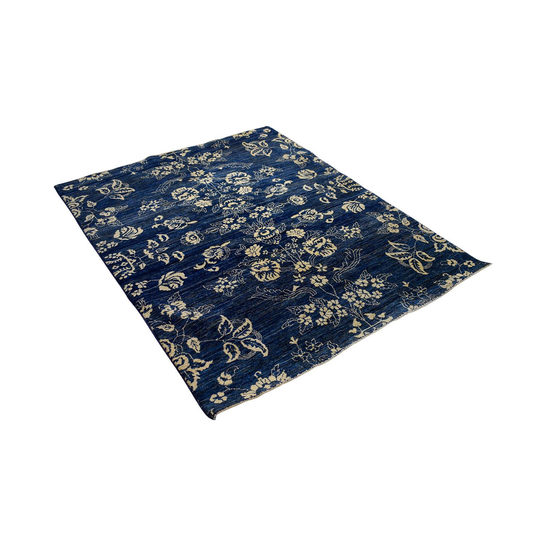 Peshawar Ziegler Peshawar Ziegler Oriental Blue Black and White Floral Rug second hand