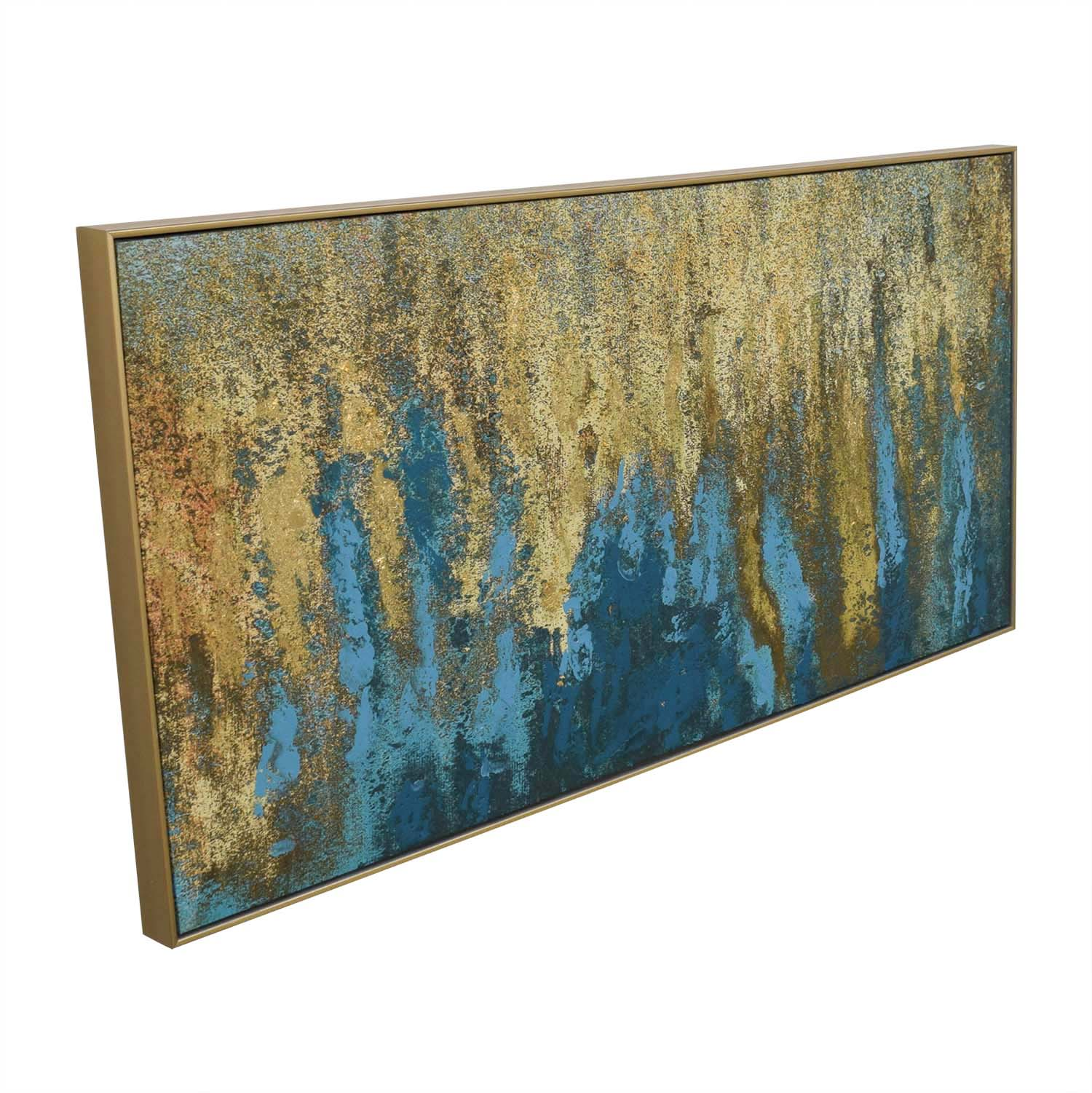 World Market World Market Teal & Gold Wall Art in Gold Frame for sale