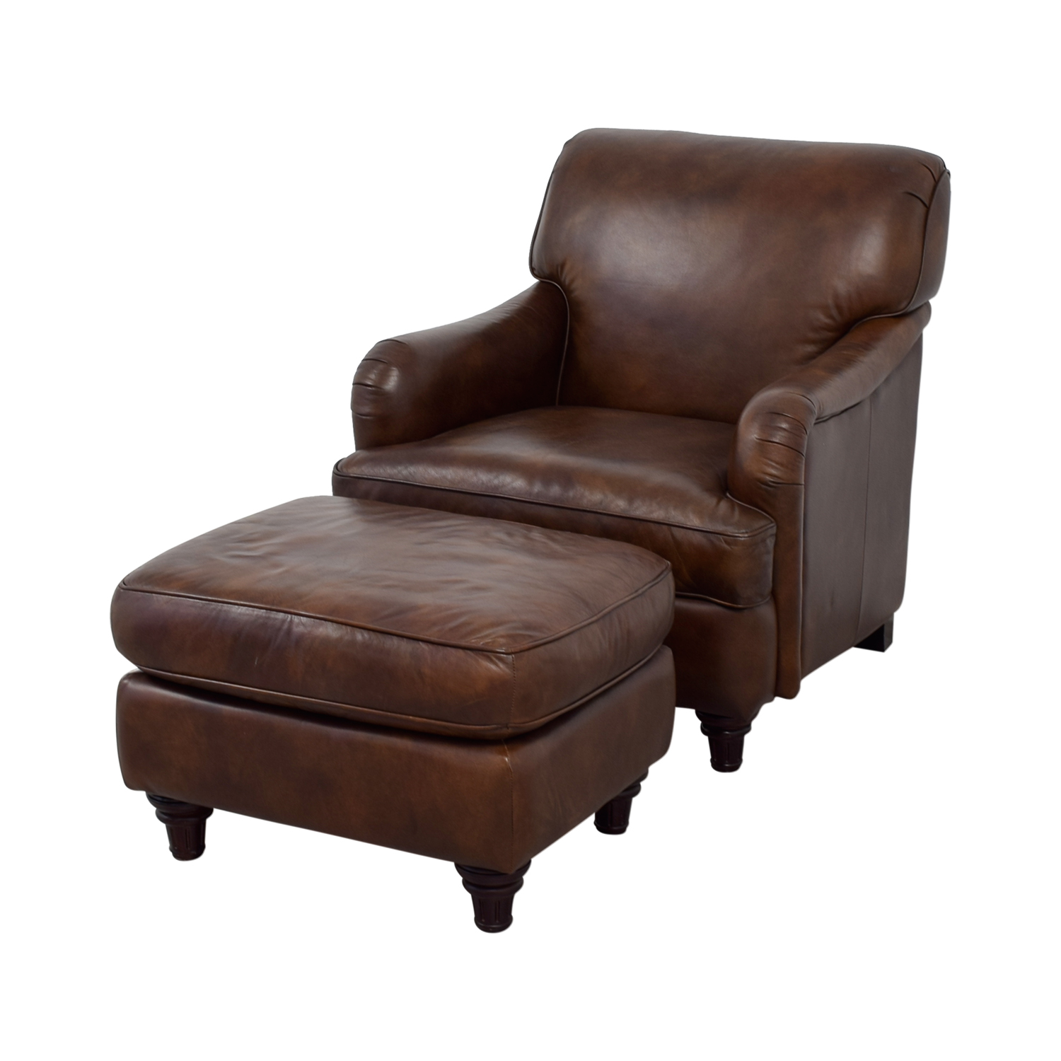 79 Off Lane Leather Lane Leather Chair And Ottoman Chairs