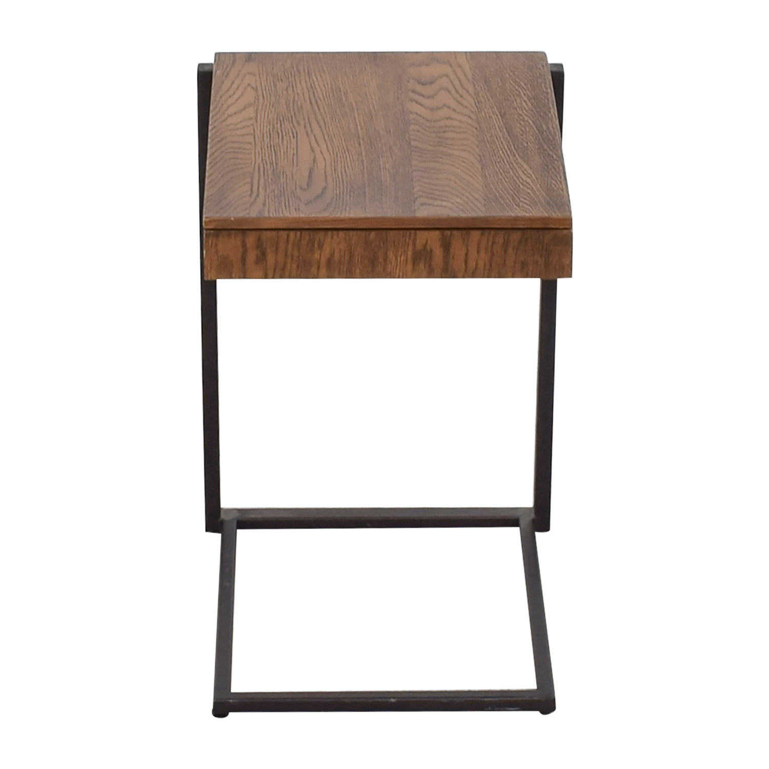Rustic Wood and Metal Nightstand brown
