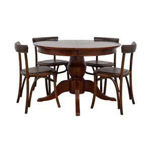 Pottery Barn Round Spindle Table with Extension Leaf Dining Set sale