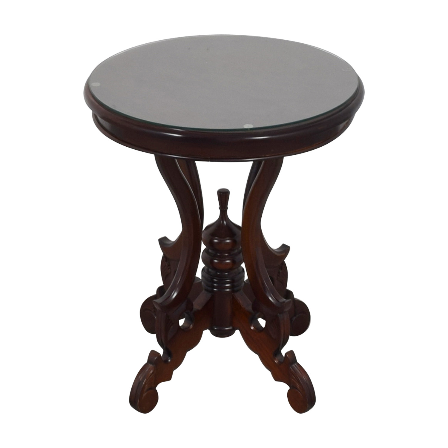 Round Table with Removable Glass Top End Tables