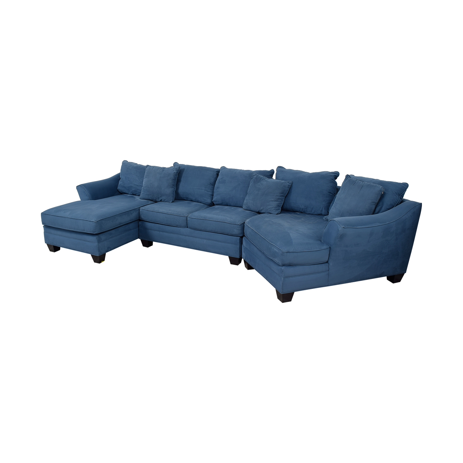 H M Richards Foresthill Blue Microfiber Chaise And Corner Seat Sectional Second Hand