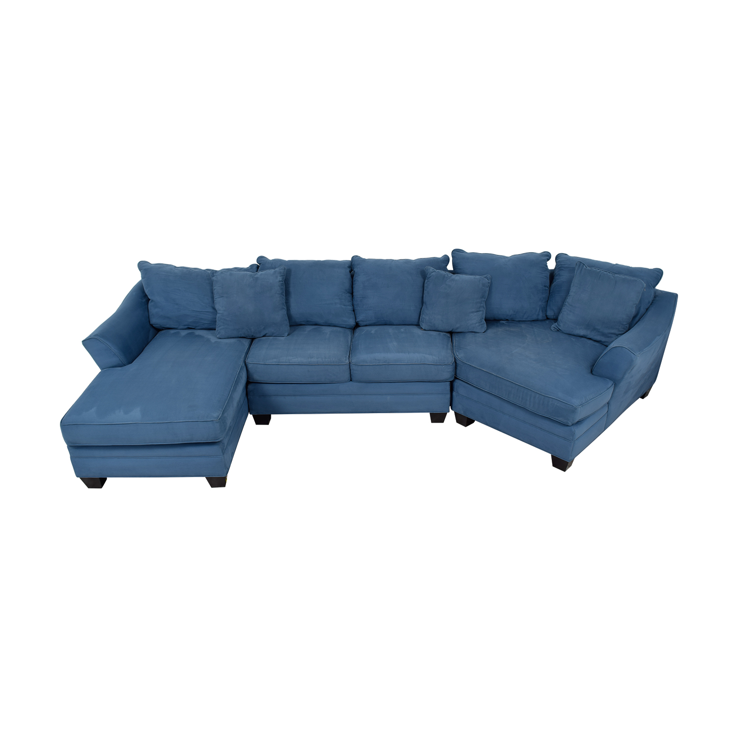 H.M. Richards Foresthill Blue Microfiber Chaise and Corner Seat Sectional / Sofas