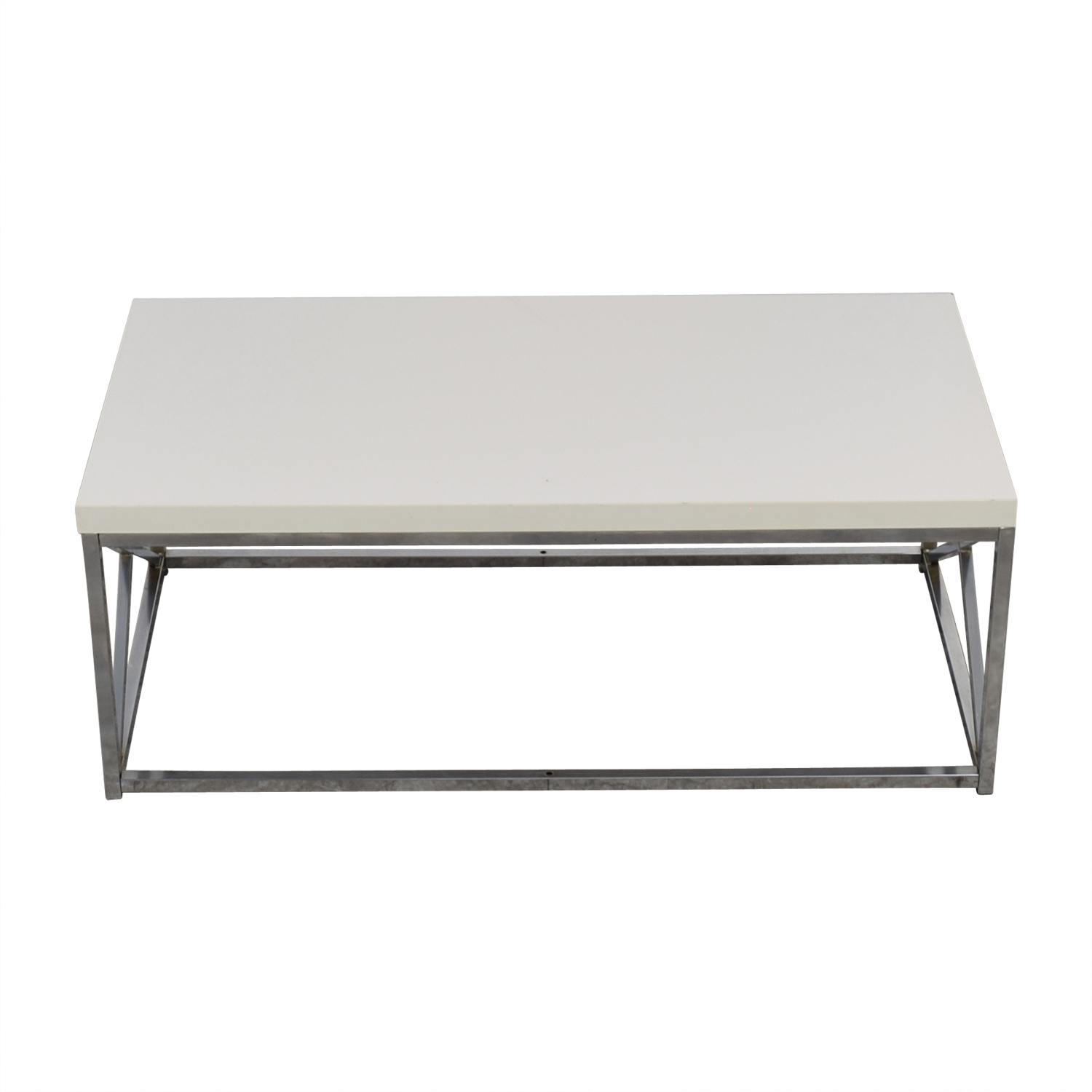 Modern White and Chrome Coffee Table Coffee Tables