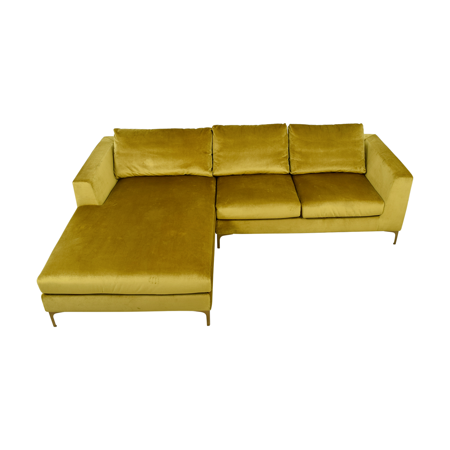 buy Asher Gold  Velvet Right Chaise Sectional  Sectionals