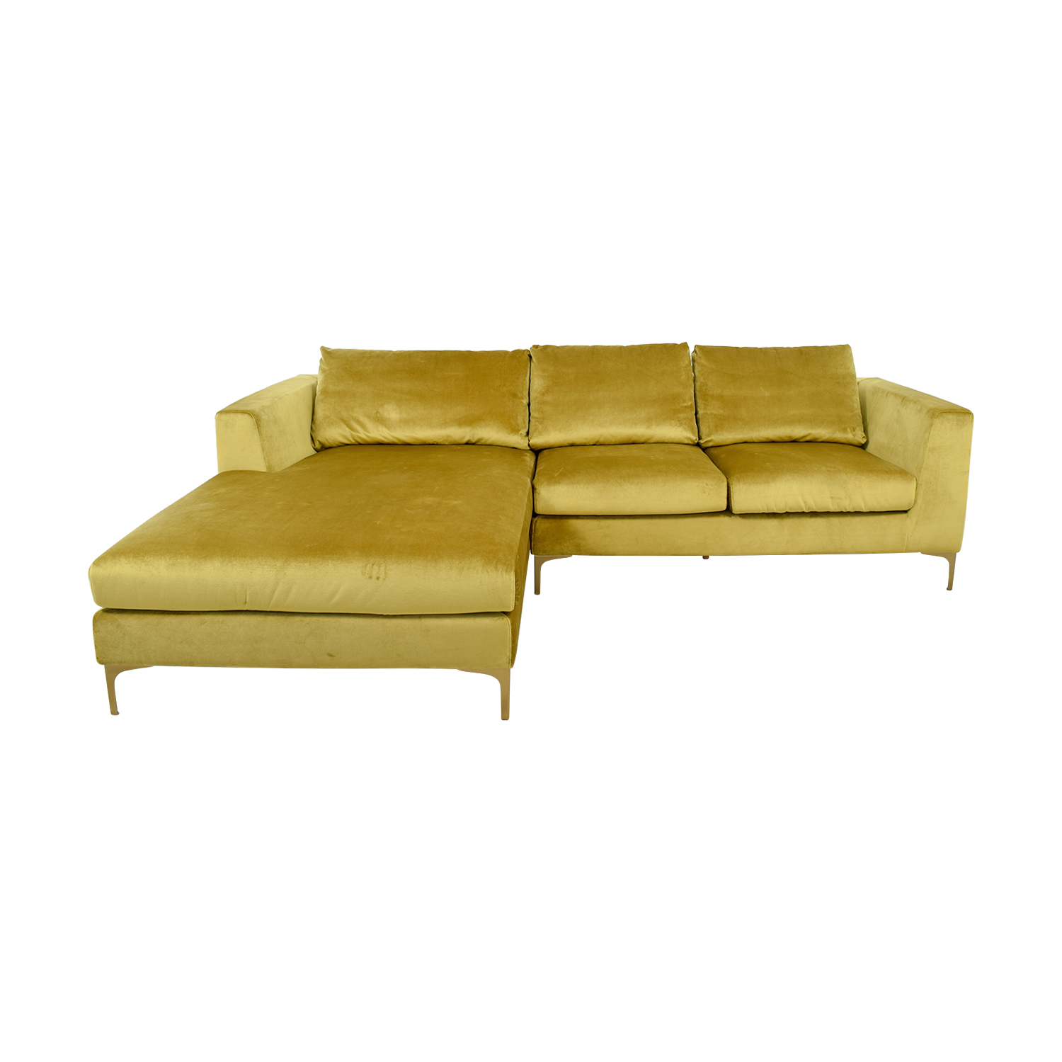 Asher Gold  Velvet Right Chaise Sectional / Sectionals