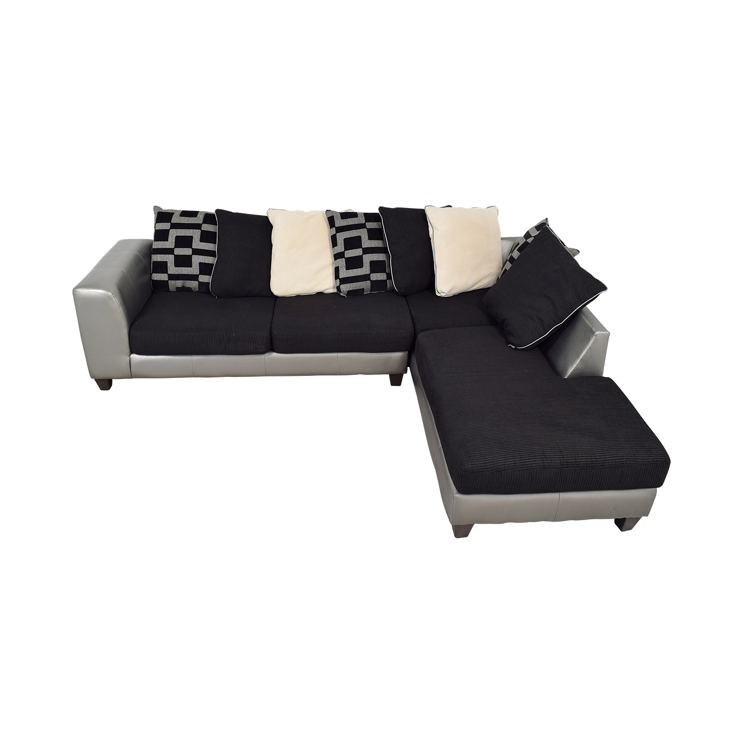 buy  Silver and Black Chaise Sectional online