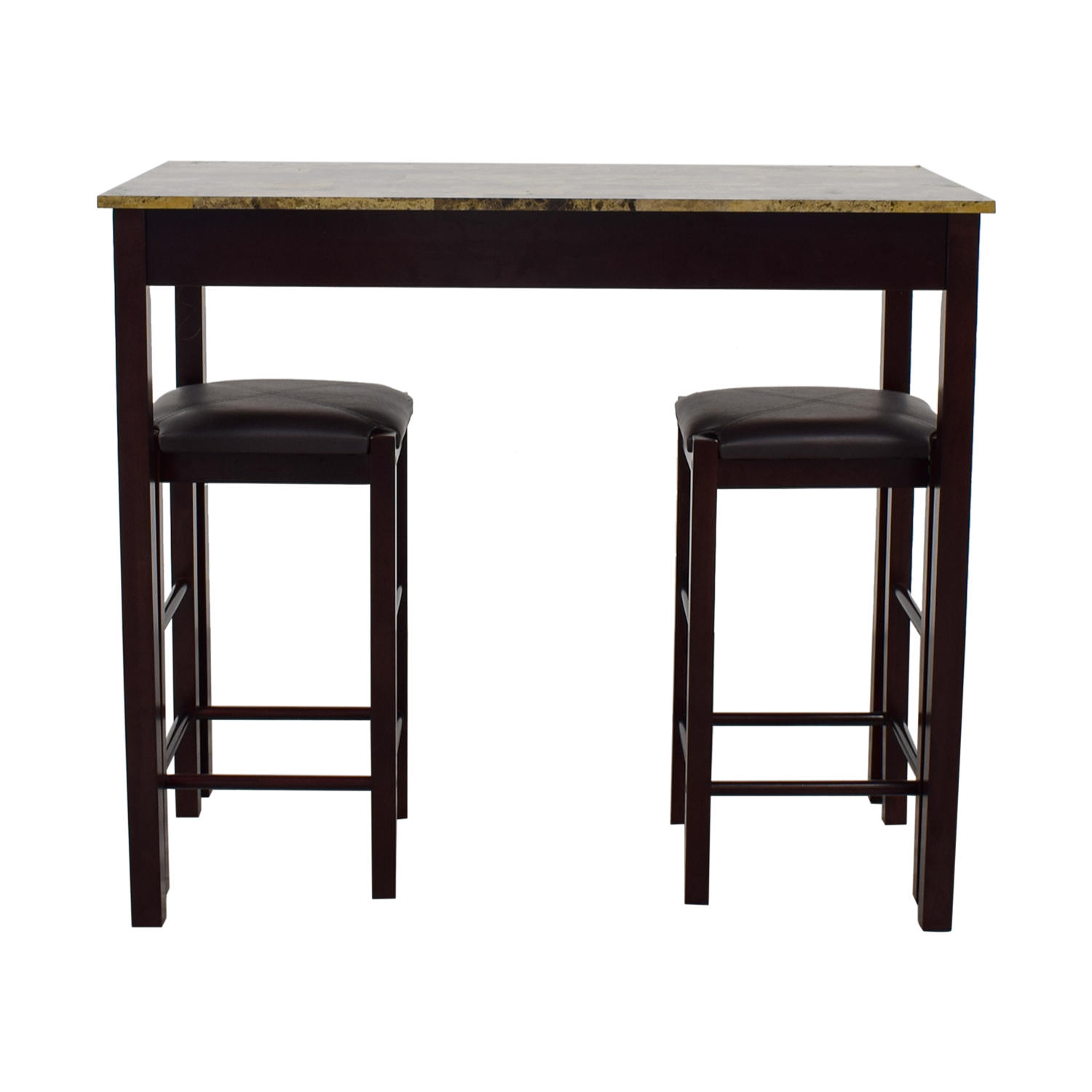buy Linon Home Tavern Kitchen Set with Brown Leather Stools Linon Home Sofas