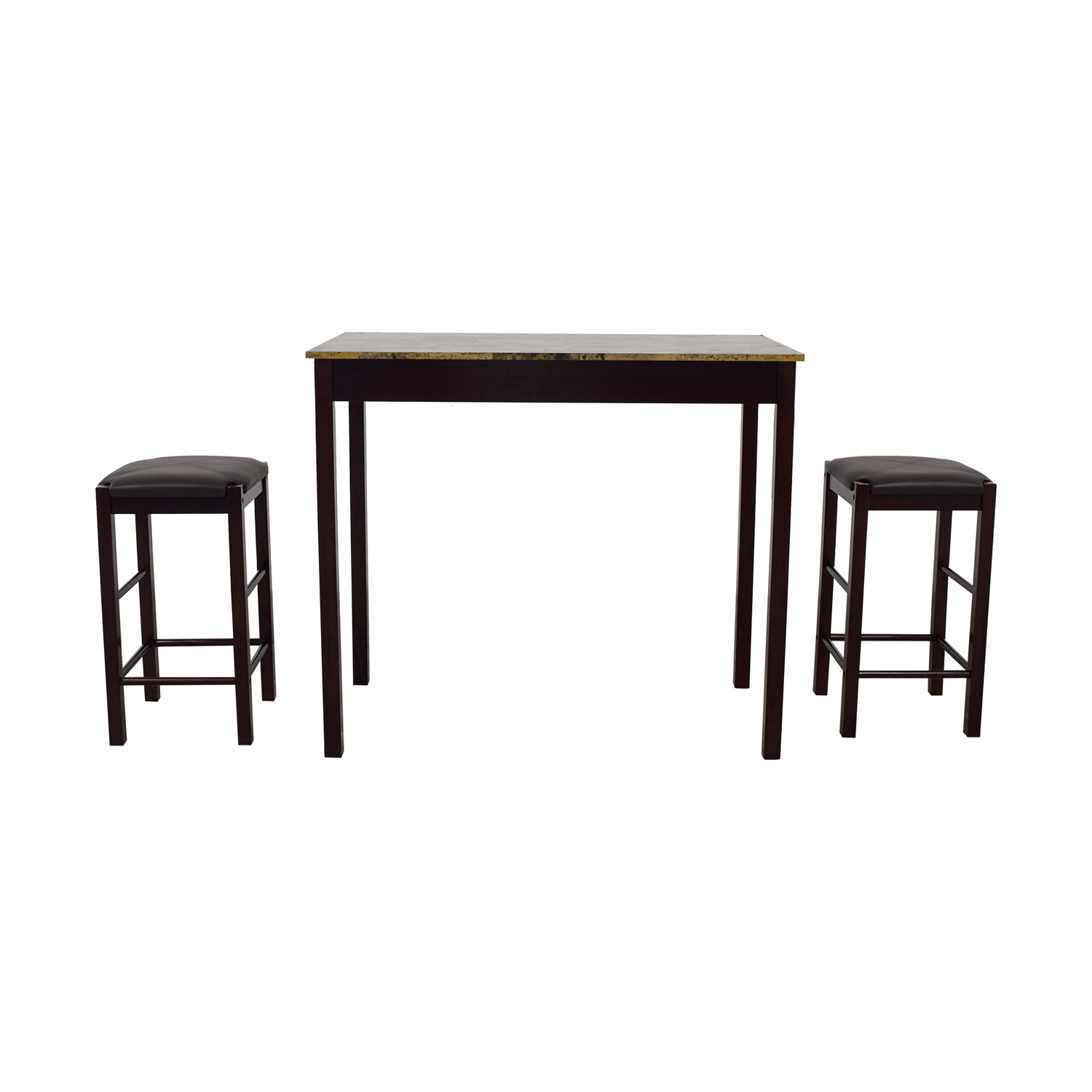 shop Linon Home Linon Home Tavern Kitchen Set with Brown Leather Stools online