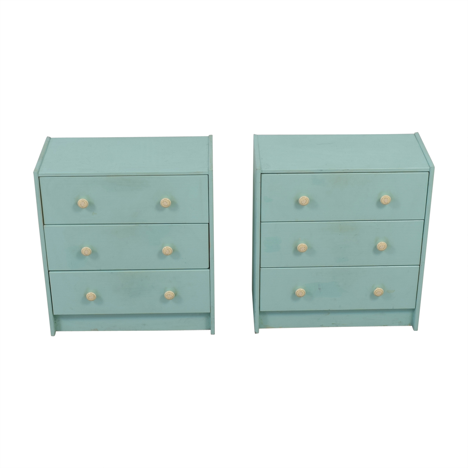 Turquoise Three-Drawer Dressers Dressers
