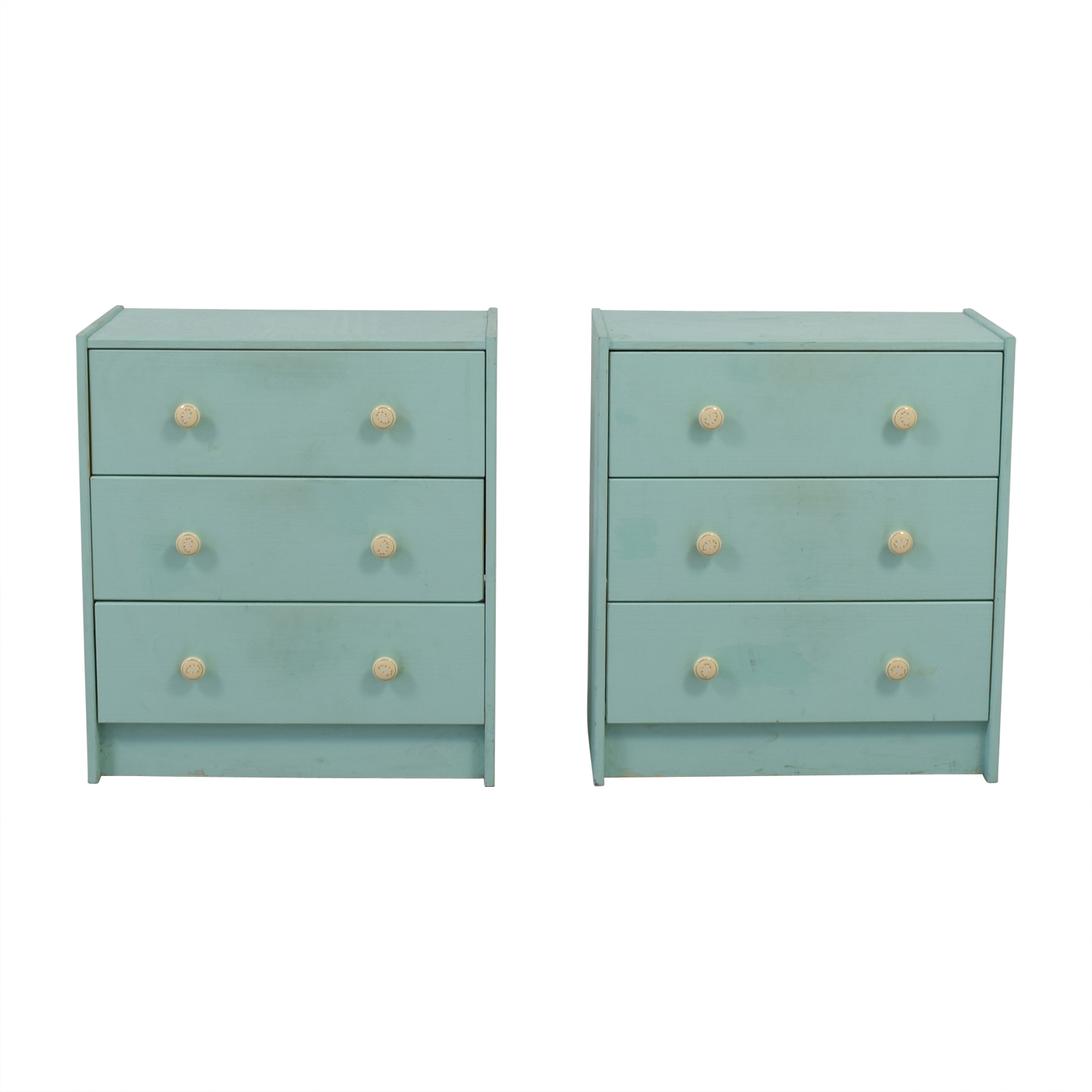 Turquoise Three-Drawer Dressers used