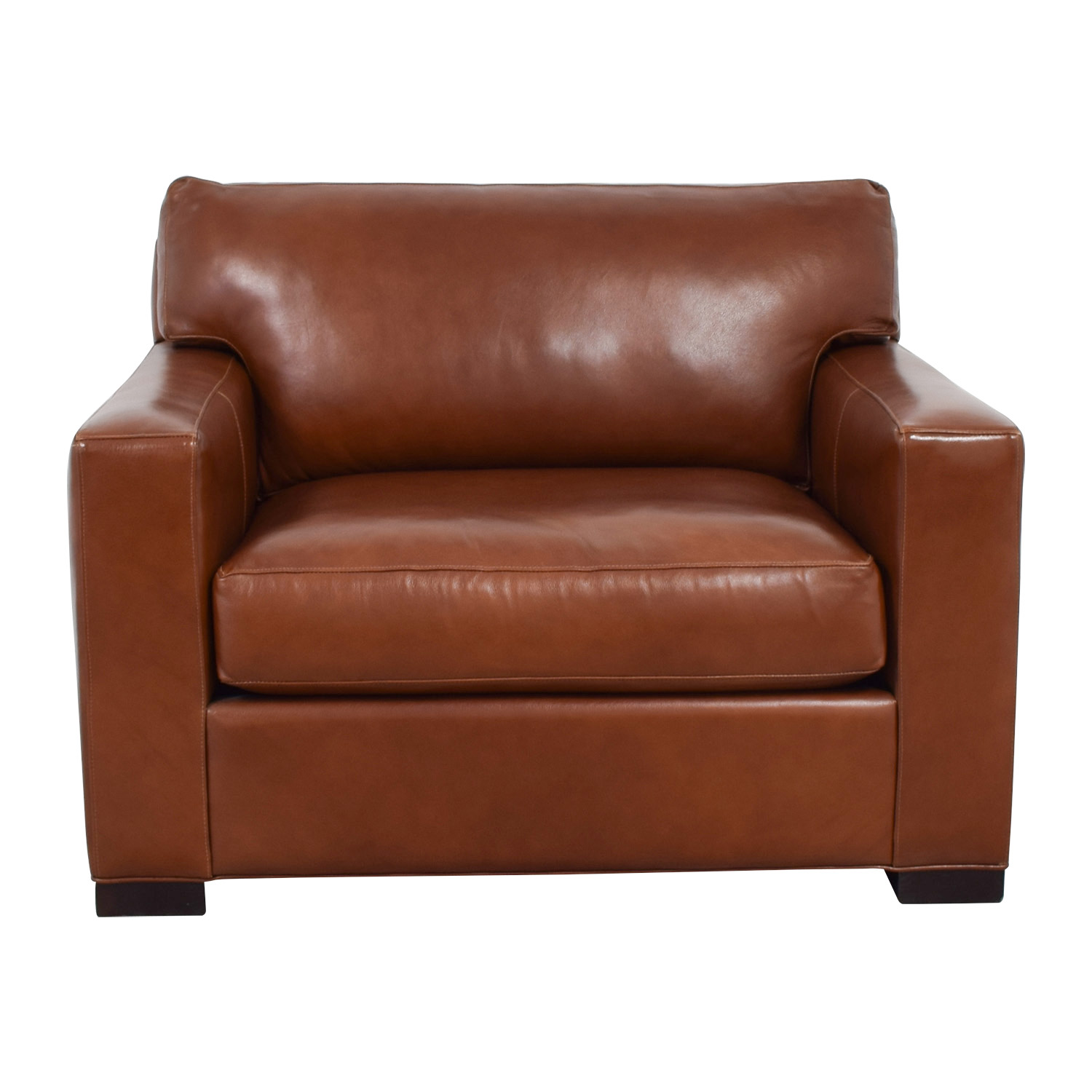 Crate & Barrel Axis II Brown Leather Chair and Ottoman sale