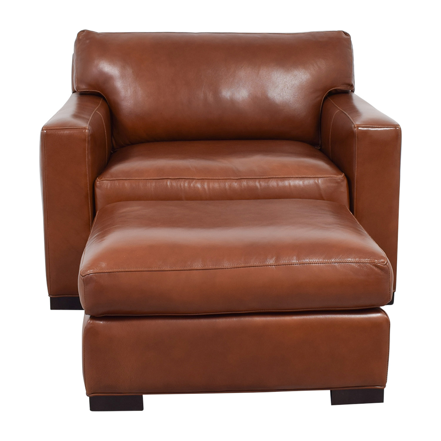 shop Crate & Barrel Axis II Brown Leather Chair and Ottoman Crate & Barrel Sofas