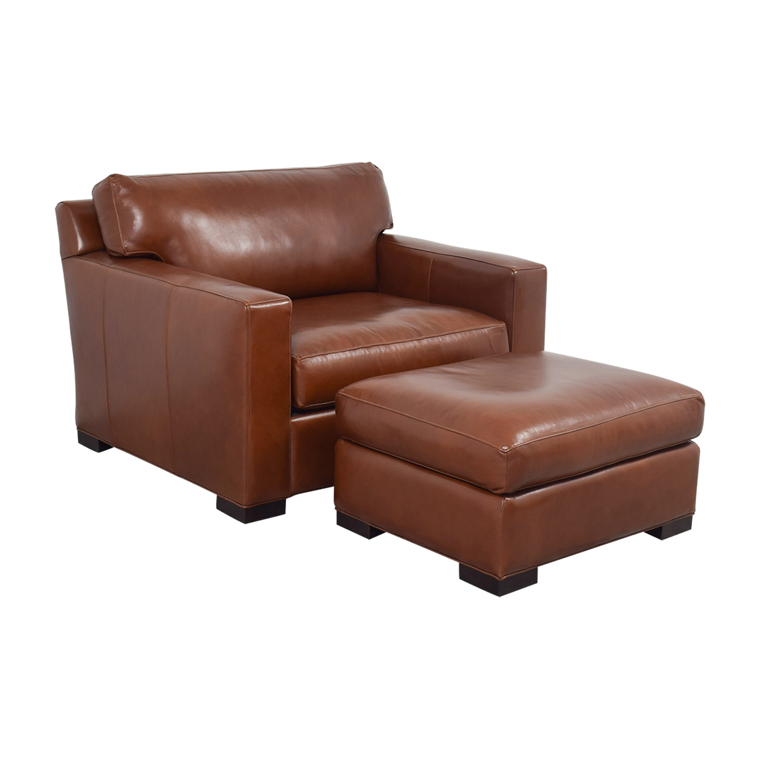 80 off crate barrel crate barrel axis ii brown leather chair and ottoman sofas. Black Bedroom Furniture Sets. Home Design Ideas