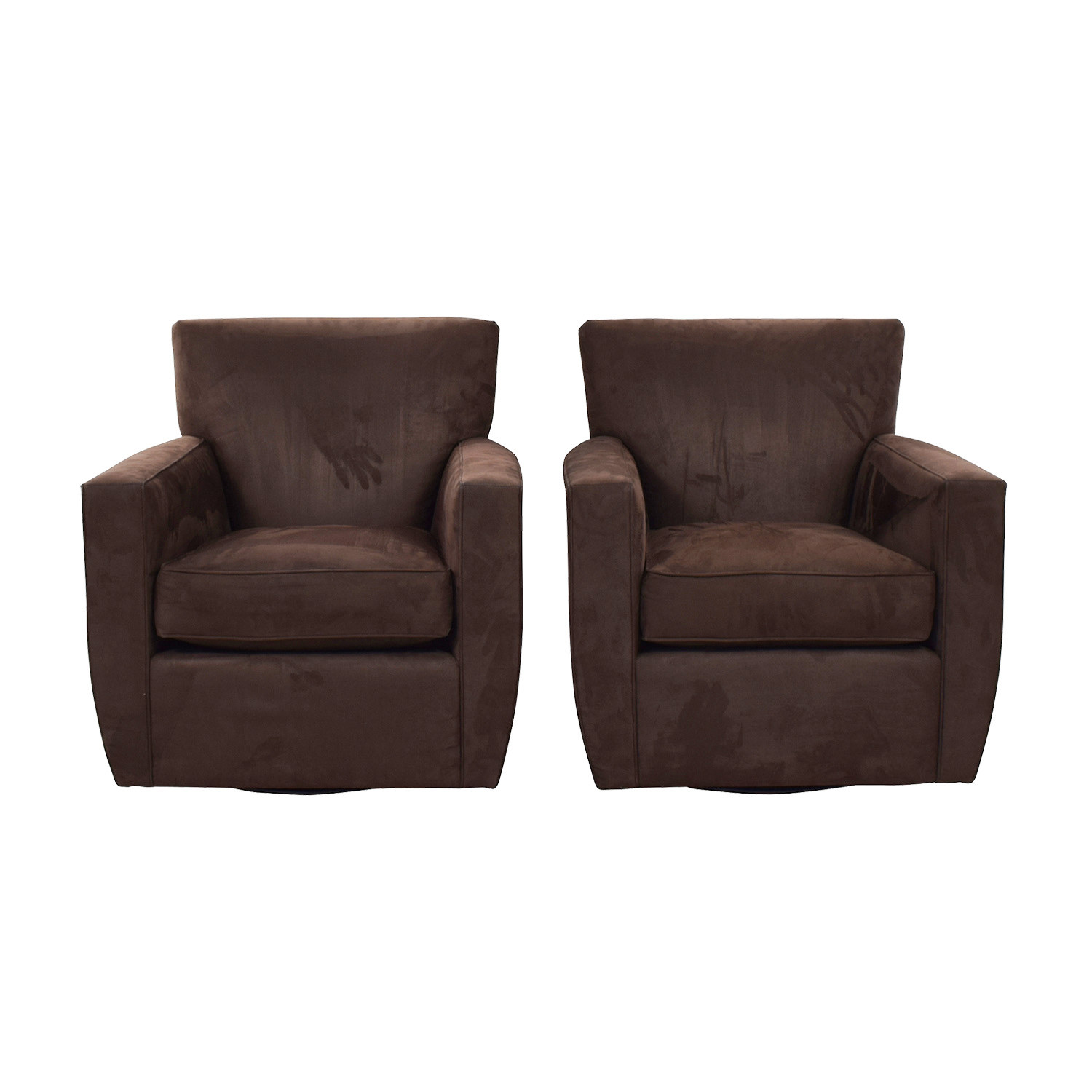 Crate & Barrel Crate & Barrel Clara Brown Swivel Chairs coupon