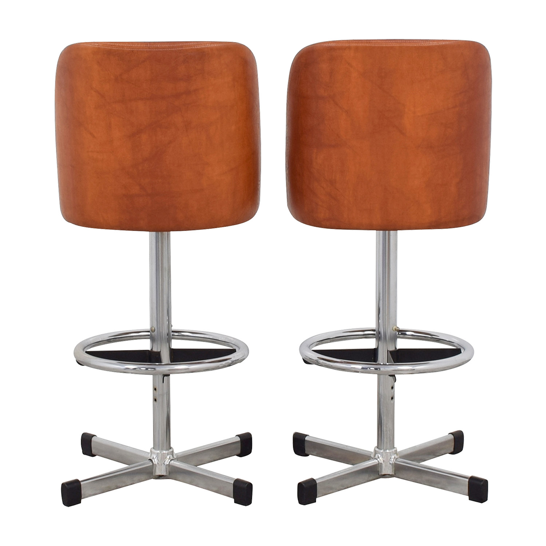 Samsonite Samsonite Vintage Orange Leather Bar Stools Accent Chairs