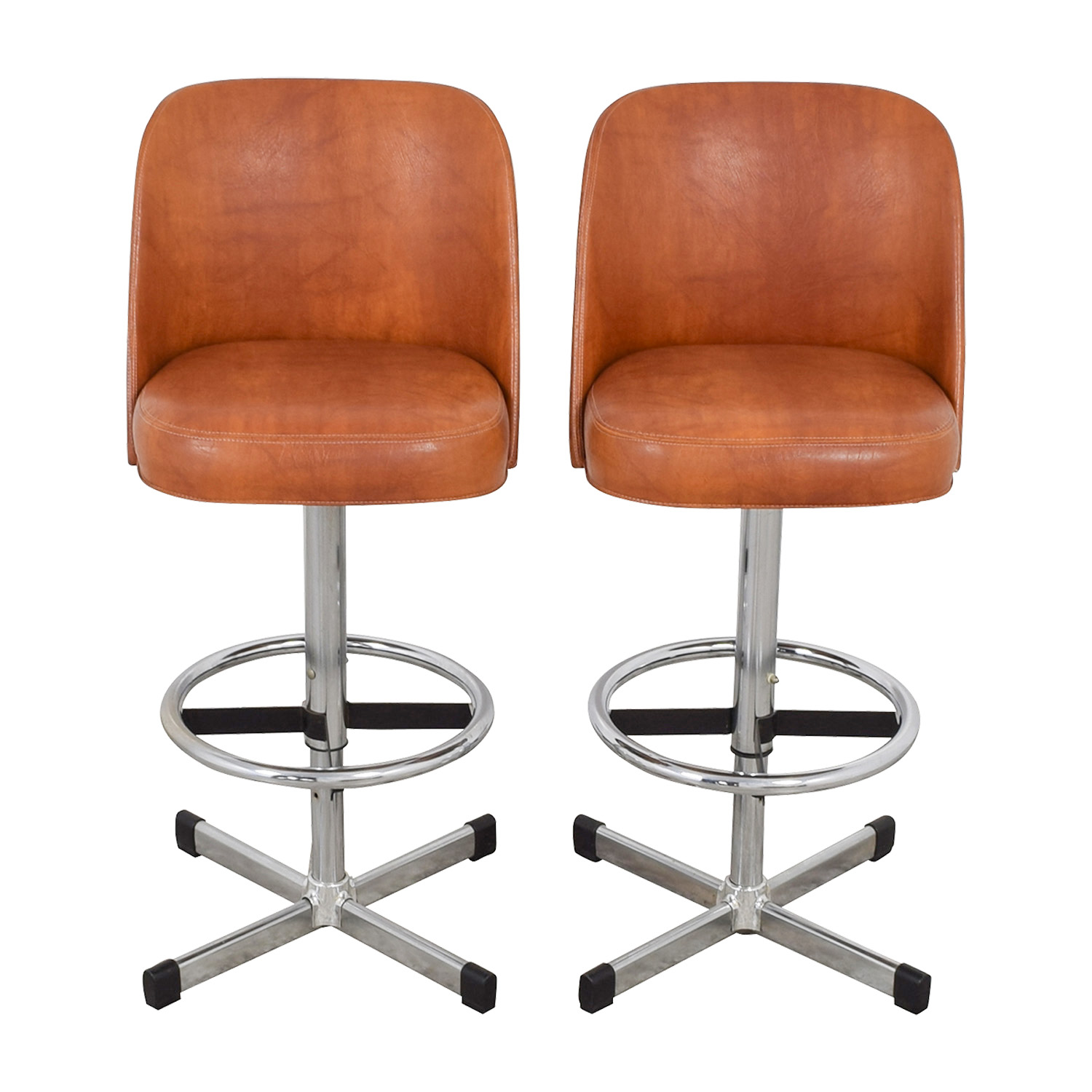 87% OFF   Samsonite Samsonite Vintage Orange Leather Bar Stools / Chairs