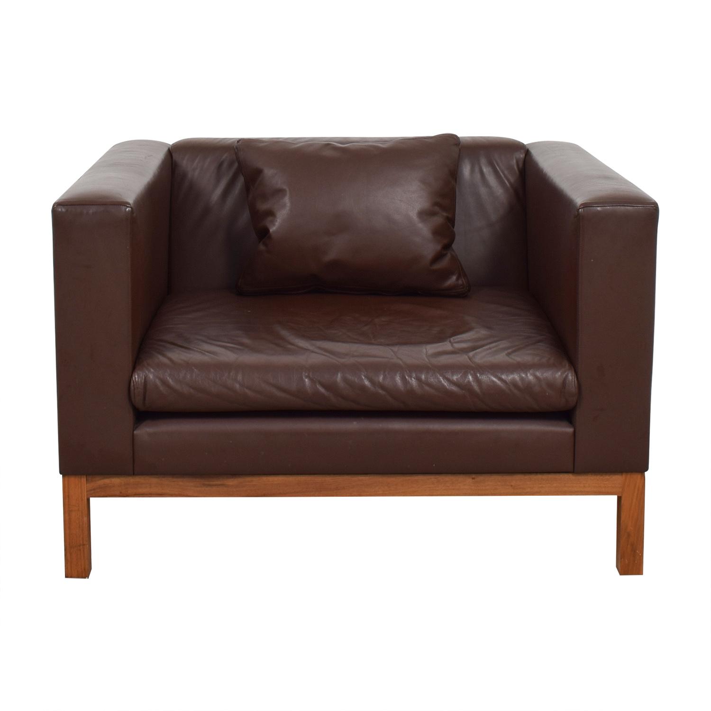 De La Espada De La Espada Burgundy Leather Accent Sofa Chair second hand