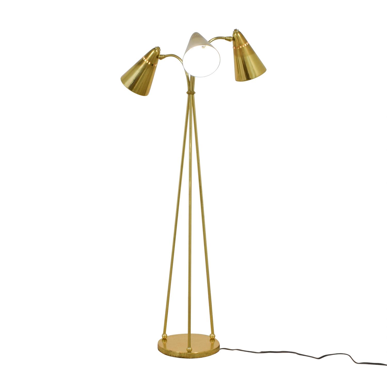Vintage Gold Three-Headed Floor Lamp Decor