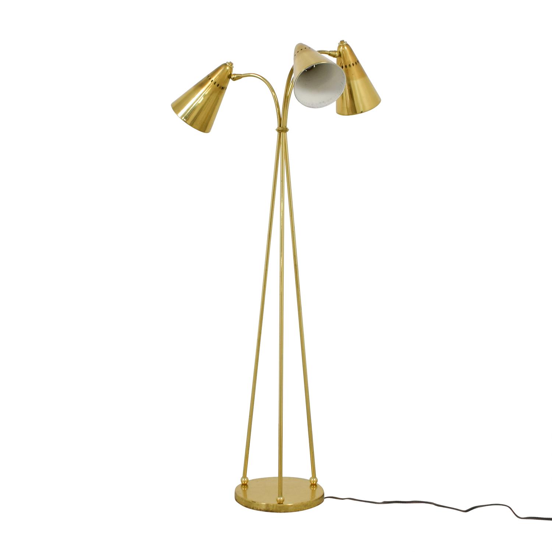Vintage Gold Three-Headed Floor Lamp nyc