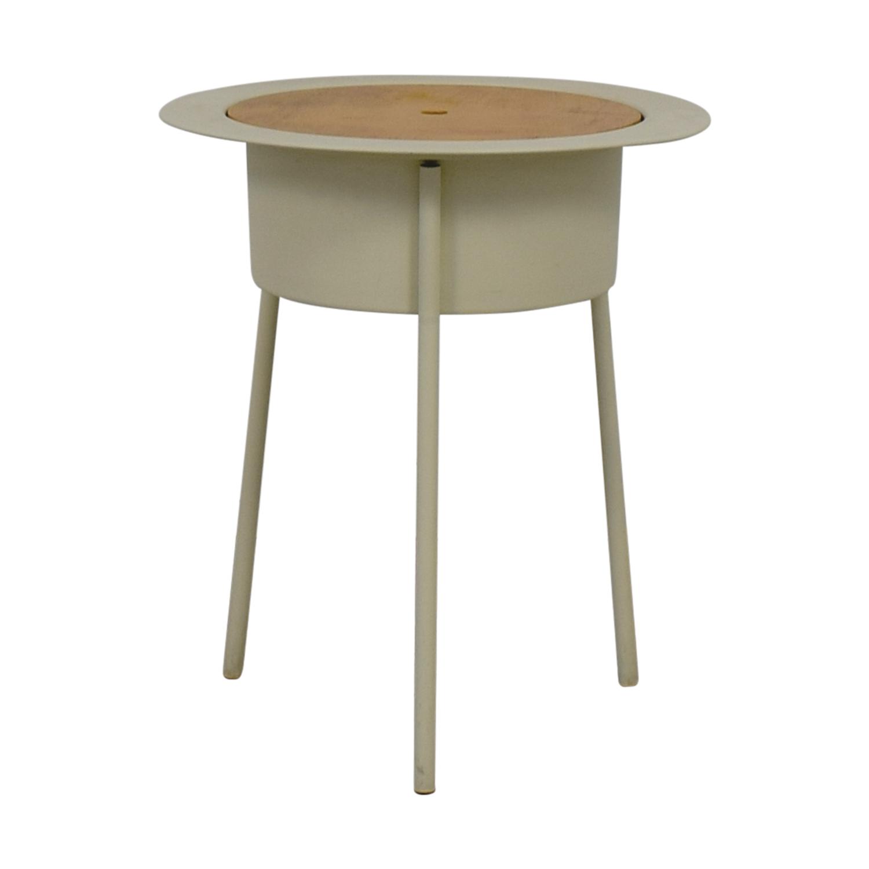 Vintage White Wood & Metal Table on sale