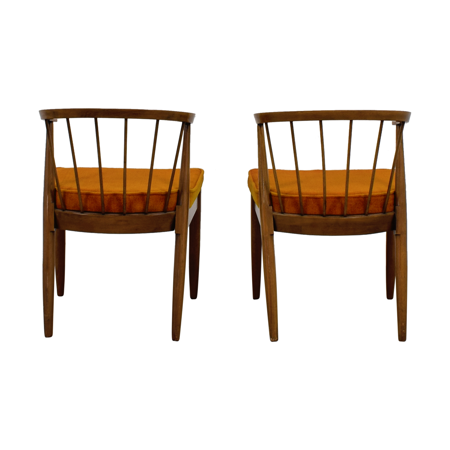 buy Vintage Wood and Orange Cushion Chairs