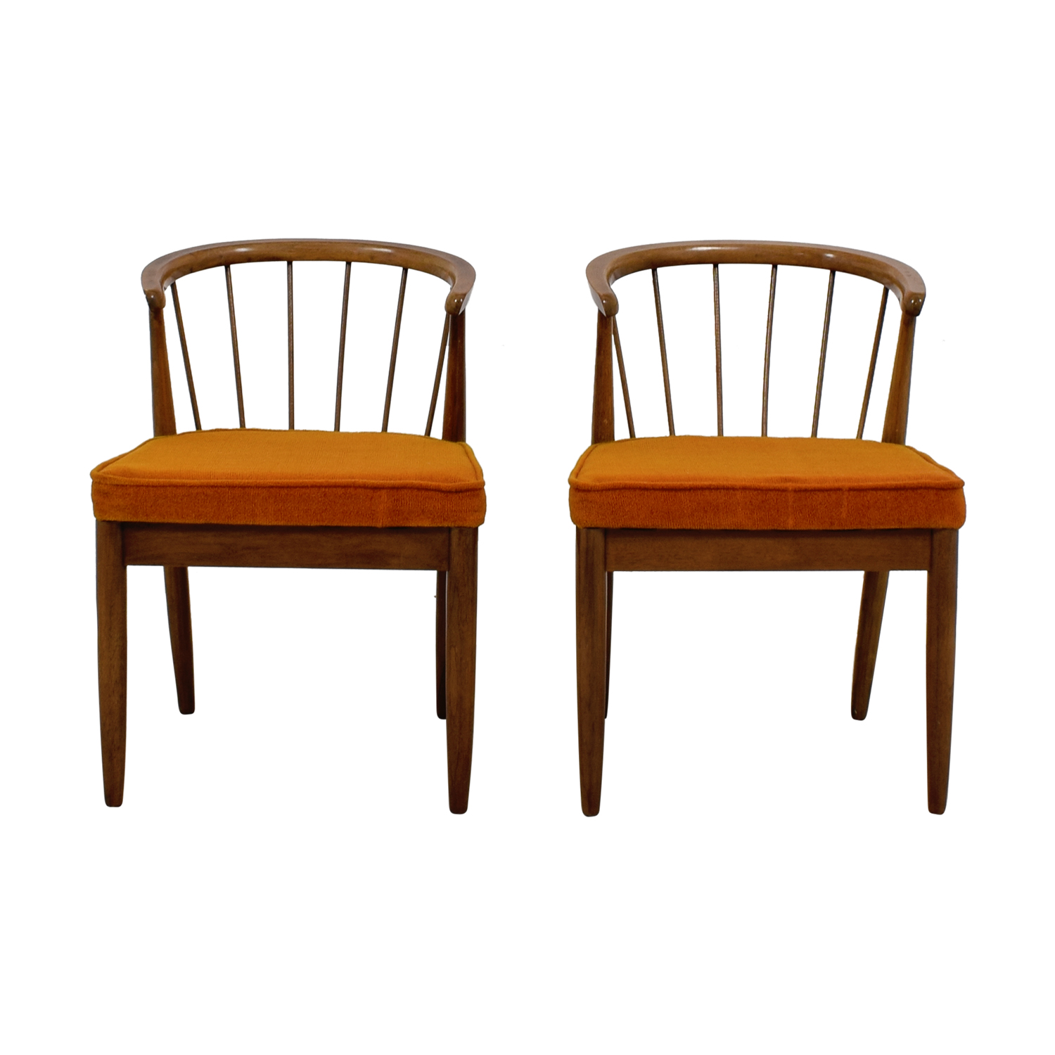 Vintage Wood and Orange Cushion Chairs nyc
