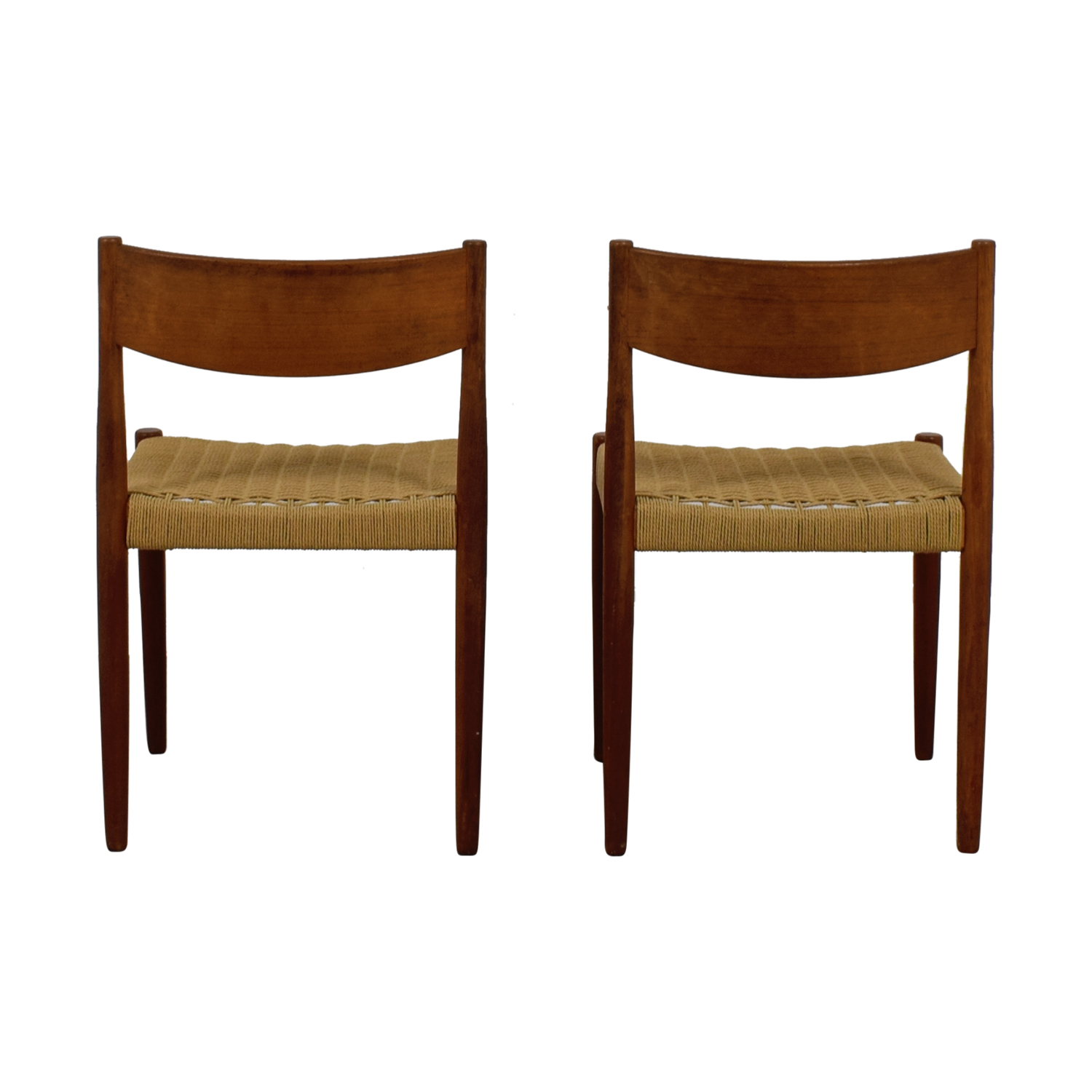 shop Vintage Wood and Sisal Woven Chairs  Dining Chairs