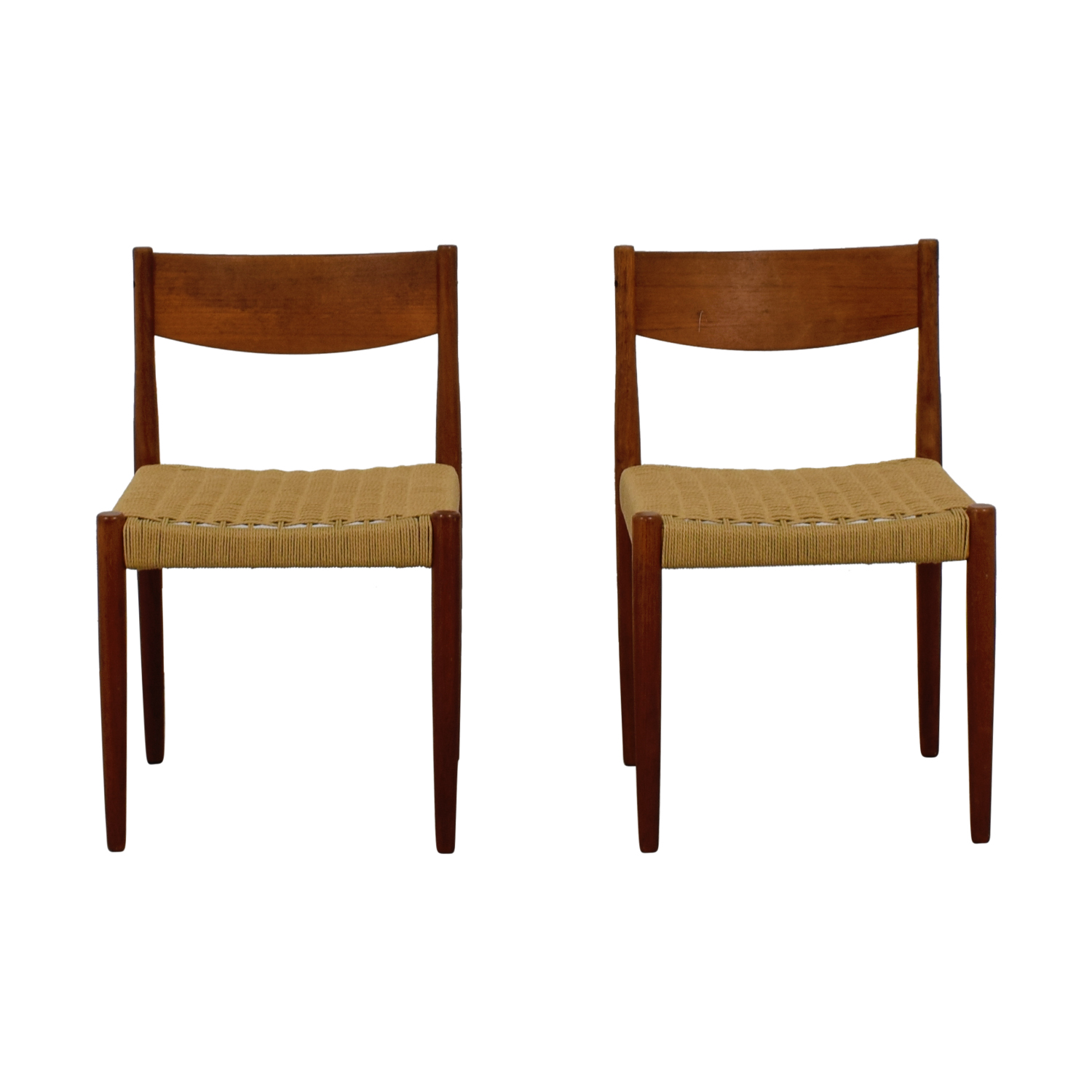 buy Vintage Wood and Sisal Woven Chairs