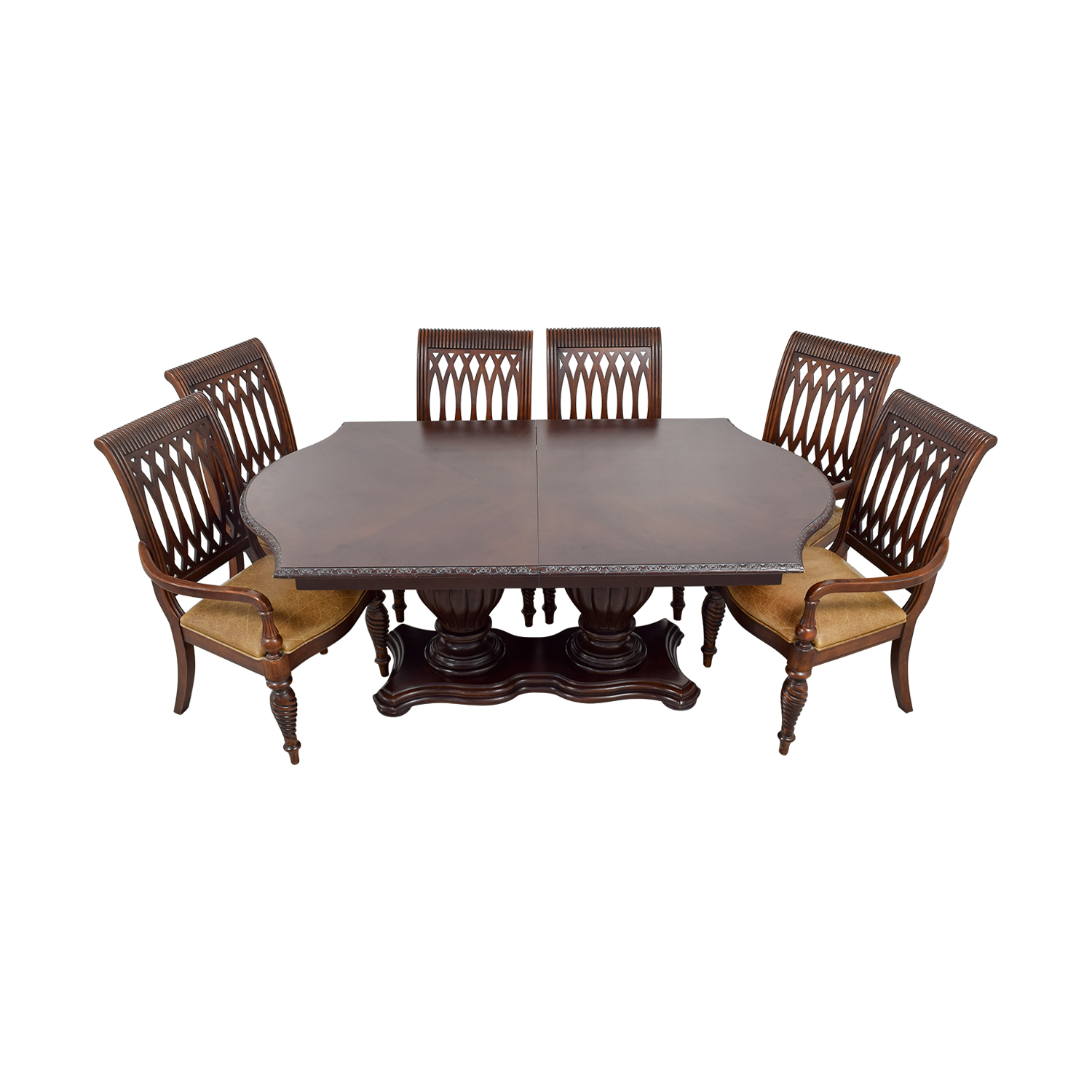 shop Bernhardt Cherry Double Pedestal Table Dining Set Bernhardt Dining Sets