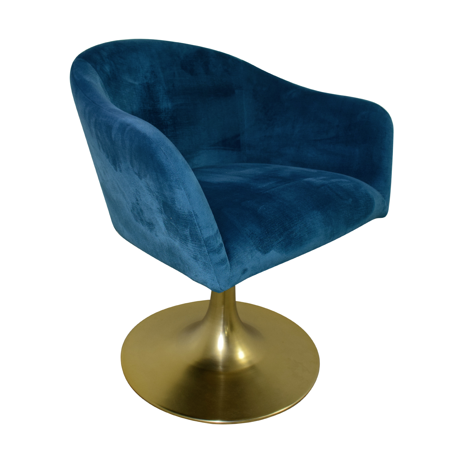 buy West Elm West Elm Bond Blue Velvet Swivel Chair online