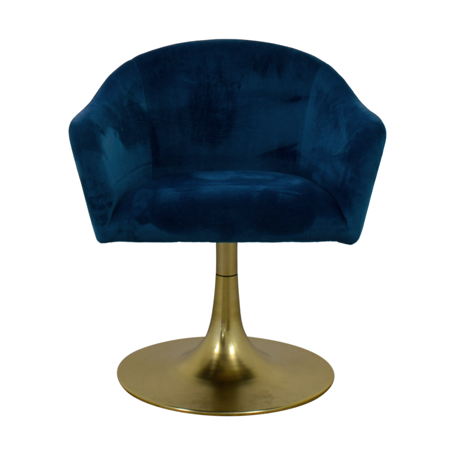 West Elm West Elm Bond Blue Velvet Swivel Chair for sale