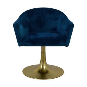 West Elm West Elm Bond Blue Velvet Swivel Chair for sale