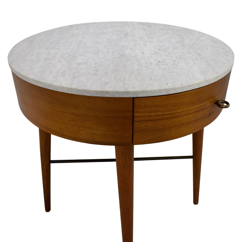 76 Off West Elm West Elm Penelope Round Marble Top Wood Nightstand Tables