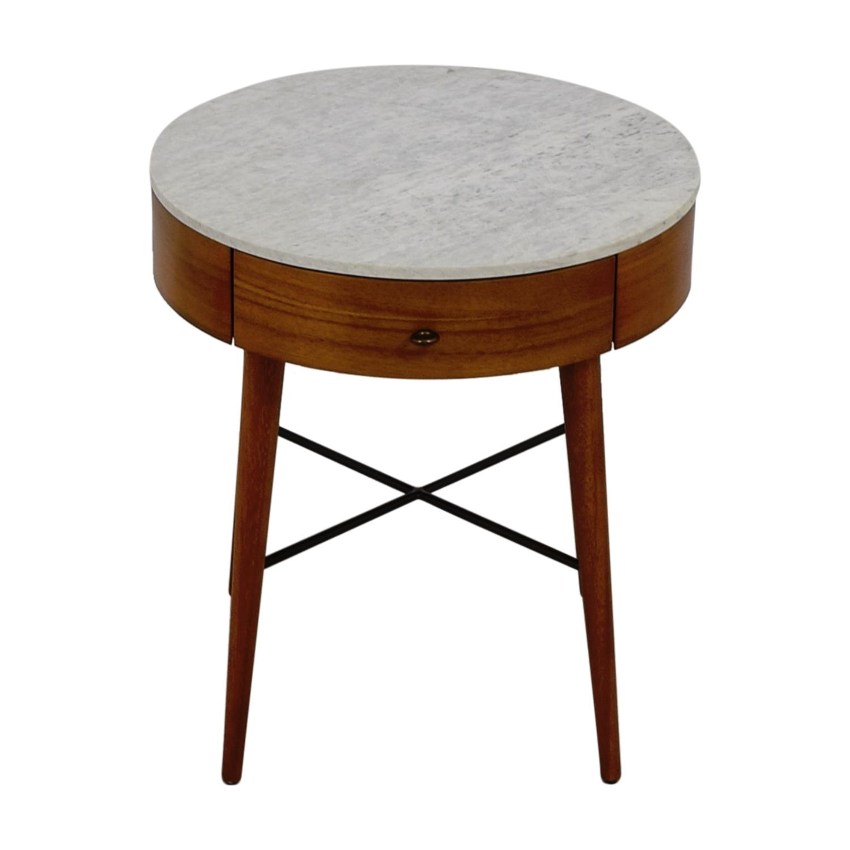 West Elm Penelope Round Marble Top Wood Nightstand West Elm
