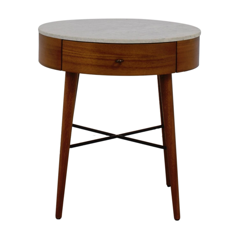 buy West Elm Penelope Round Marble Top Wood Nightstand West Elm End Tables