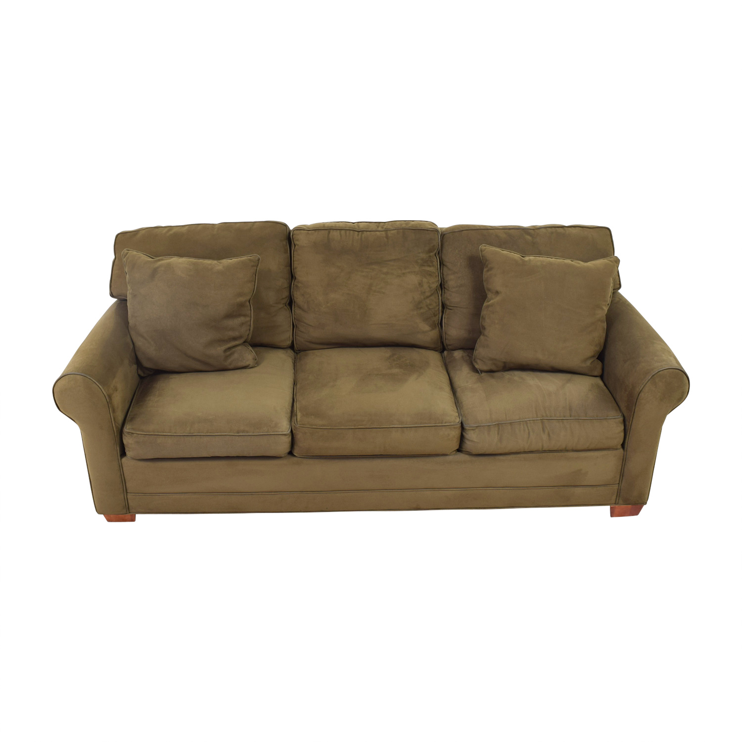 shop Raymour & Flanigan Suede couch Raymour & Flanigan