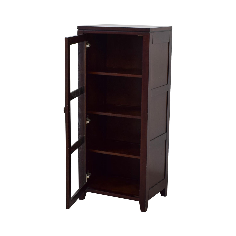 Crate & Barrel Crate & Barrel Bar Cabinet with Glass Door brown