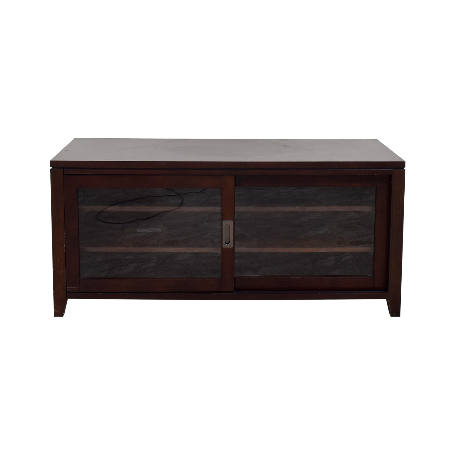 Crate & Barrel Wood and Sliding Glass Door Media Stand sale