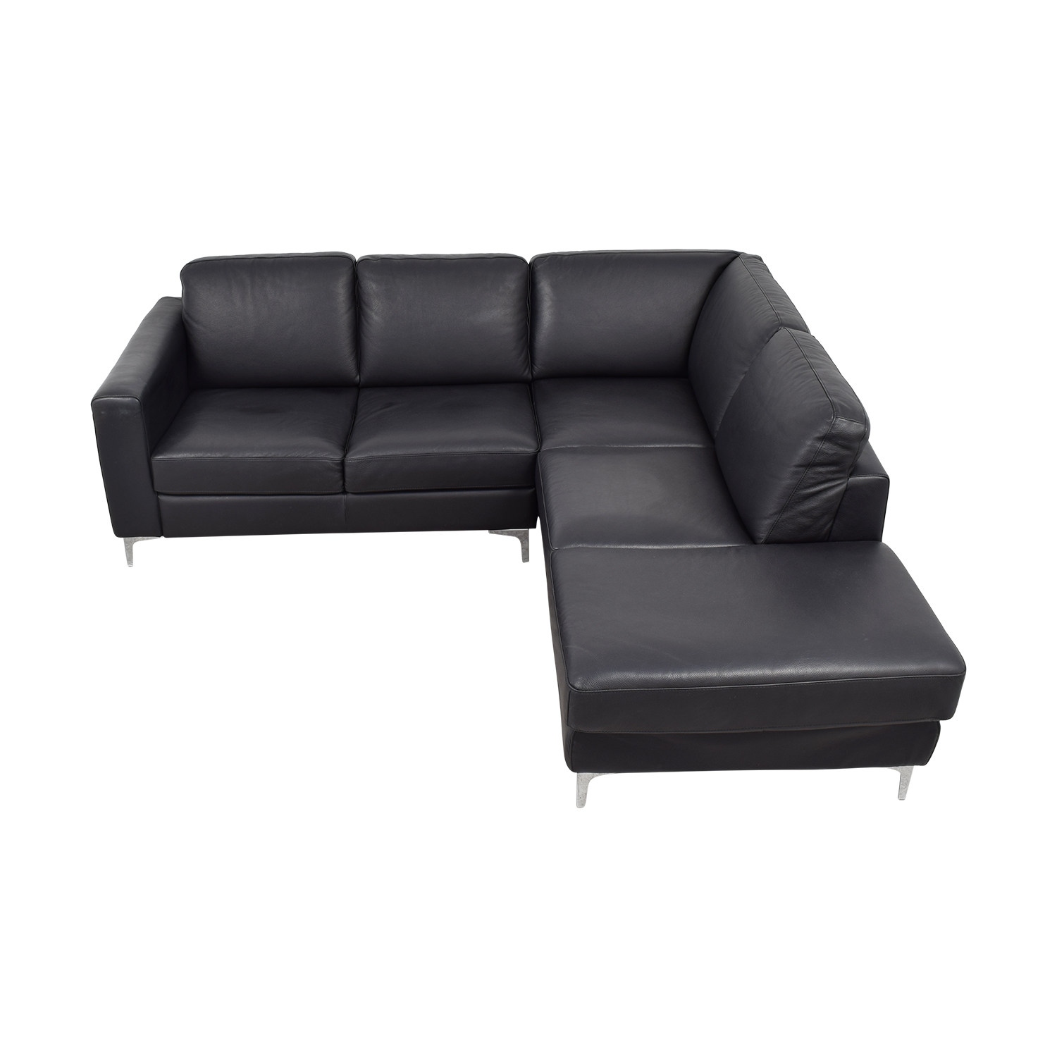 Cubo Rosso Black Leather L-Shaped Sectional / Sofas