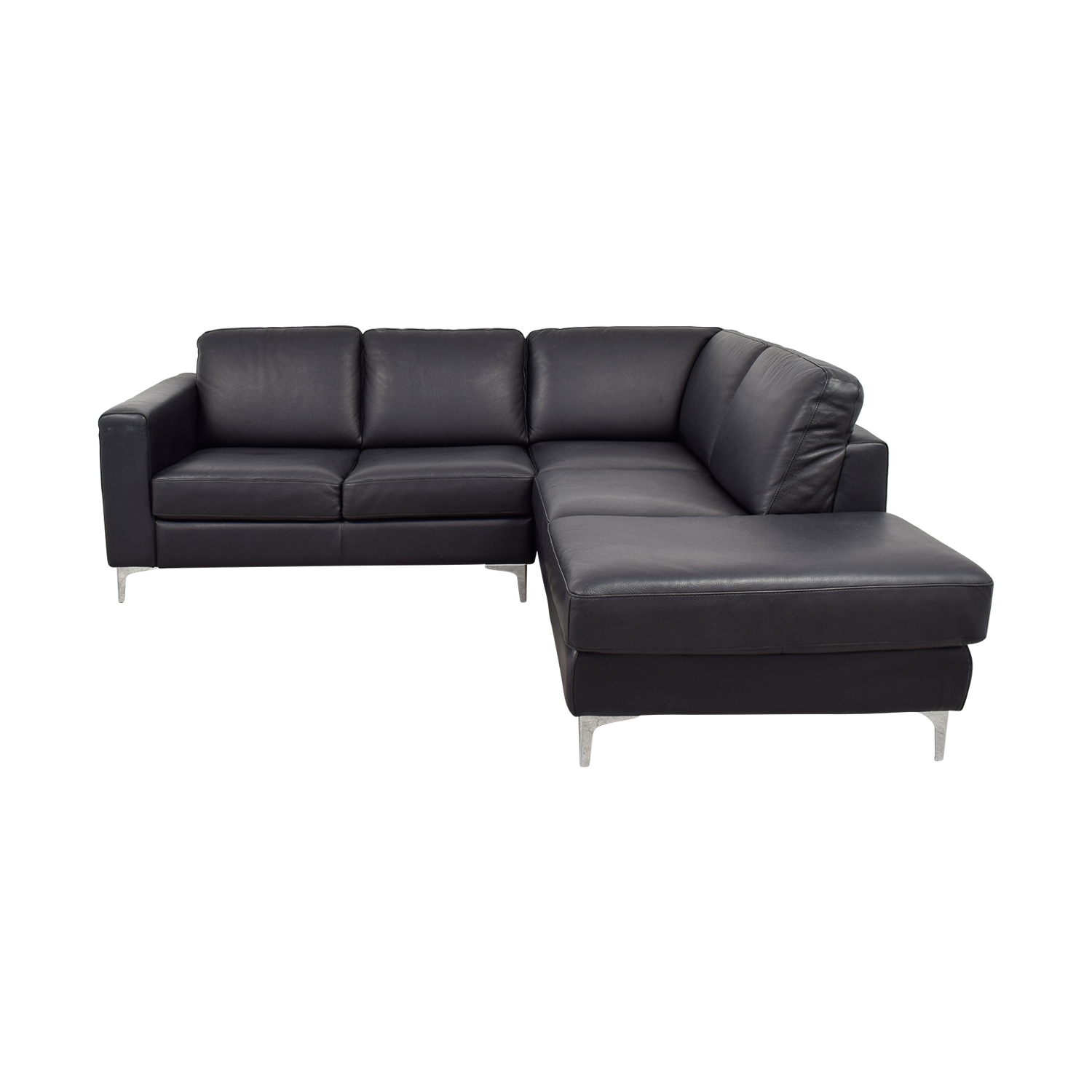 Cubo Rosso Cubo Rosso Black Leather L-Shaped Sectional on sale