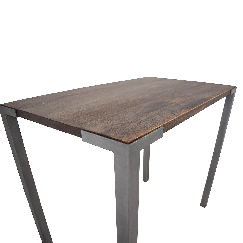 53 off cb2 cb2 rustic wood stilt high dining table tables. Black Bedroom Furniture Sets. Home Design Ideas