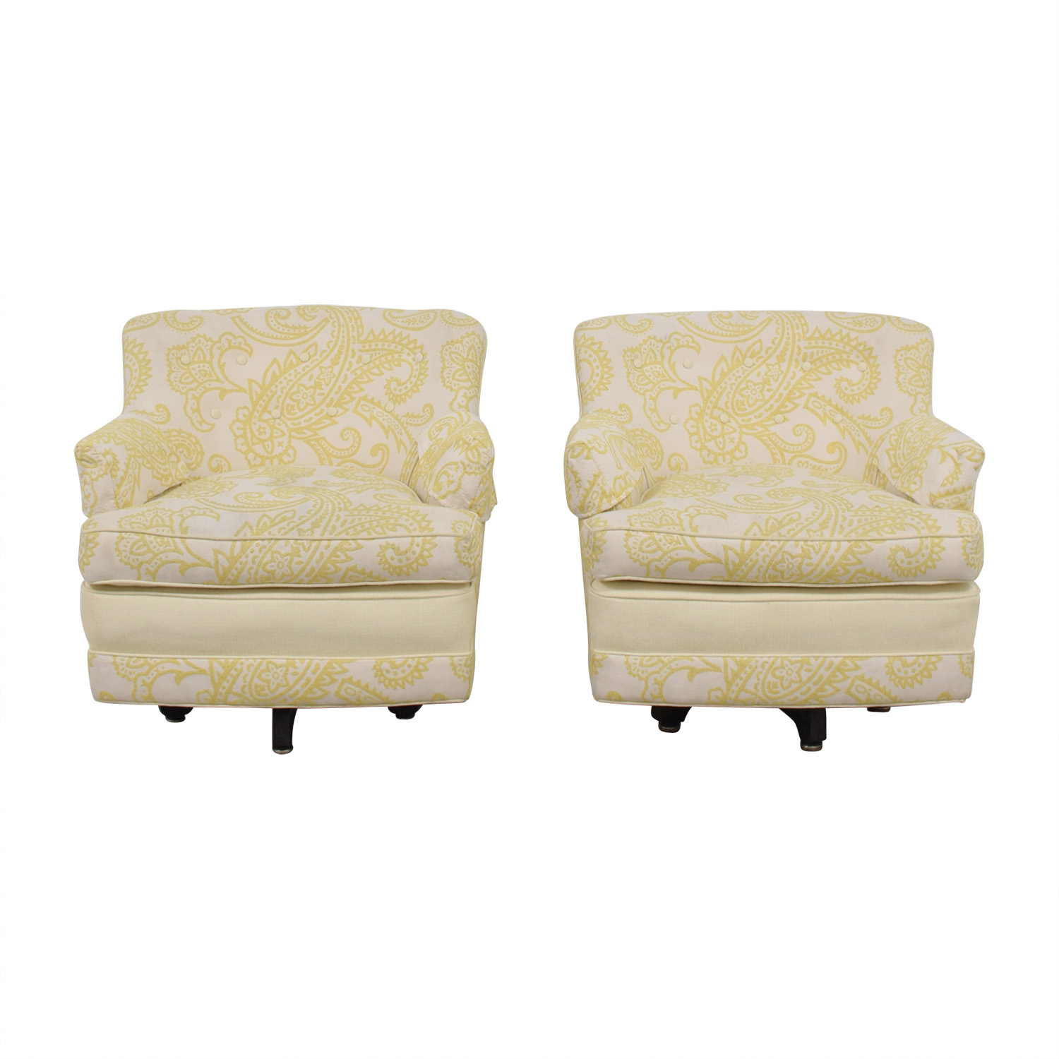 Mid Century Yellow and White Swivel Chairs price