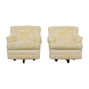 Mid Century Yellow and White Swivel Chairs